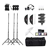 Andoer® Tolifo Profi Foto Studio Speedlite Lighting Lamp Kit mit Set (3 *) 300W Studioblitz Blitzleuchte Standplatz Softbox weicher Regenschirm Stoff Lampenschirm Barn Door Trigger