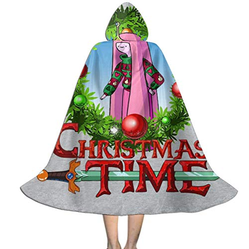 NUJSHF Adventure Christmas Time Kranz Prinzessin Bubblegum Cartoon Network Unisex Kinder Kapuzenumhang Cape Halloween Party Dekoration Rolle Cosplay Kostüme Outwear