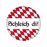 Kiwikatze® Fest - Schleich di! Button Ansteckbutton 37mm Oktoberfest Wiesn Volksfest für Dirndl oder Lederhose