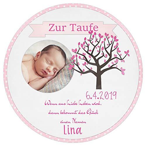 Tortenaufleger Tortenbild Taufe rosa Lebensbaum Mädchen Wunschtext Foto essbar Ø 20cm 645