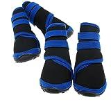 Wasserfeste Rutschhemmende Schuhe 4Pc Haustier Blau Neopren Hundestiefel L