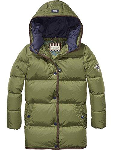 Scotch & Soda Shrunk Jungen Mantel Long Puffer Coat, Grün (Military 360), 164 (Herstellergröße: 14) (Mantel Puffer Jacke)