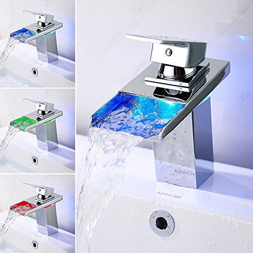LED-Licht Badezimmer Waschbecken Wasserhahn mit Temperatur Sensor WasserKRAFT Wasserfall Waschbecken Wasserhahn Waschtischarmatur Einhebelmischer Messing–Mehr Secure für Waschbecken in Bad WC Küche (Licht Badezimmer Wasserhahn)