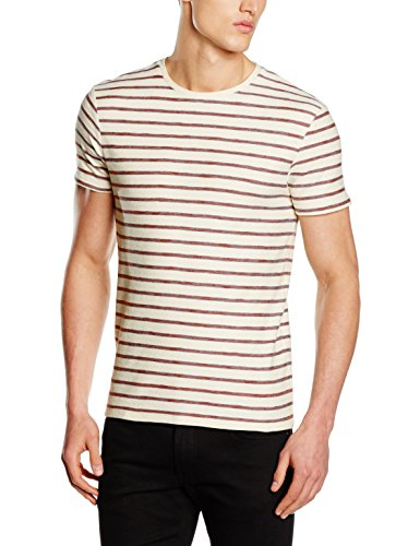 SELECTED HOMME Herren T-Shirt Shhkris Stripe SS O-Neck Tee Noos, Mehrfarbig (Apple Butter Stripes:Marshmallow), Large