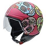 NZI 050313G825 Zeta Tulum by Maya Hansen Casco de Moto, Fondo Rosa y Calaveras Mexicanas, Talla 58 (L)