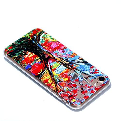 Apple iPhone 7 / iPhone 8 Hülle, SATURCASE Schönes Muster Bas-relief Ultra Dünn Weich TPU Gel Silikon Schützend Zurück Case Cover Handy Tasche Schutzhülle Handyhülle Hülle für for Apple iPhone 7 / iPh Muster-3