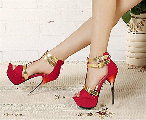 Wealsex Sandales Escarpin Bout Ouvert Talons Aiguilles Plateforme Sexy Femme Rouge