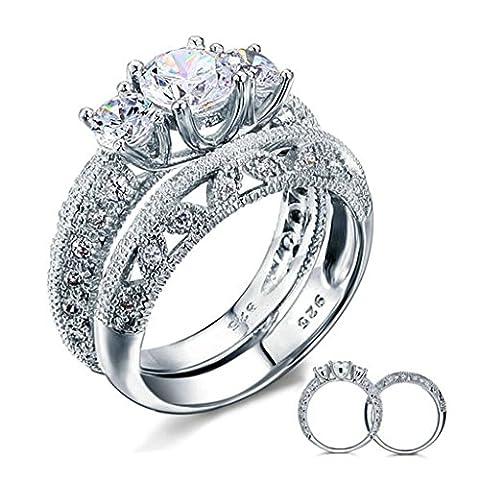 Daesar Silber Verlobung Ring-Set Frauen Runde Schneiden CZ Ring Silber Zinken Größe:54 (17.2) (Solide 14 Karat Weißgold-uhr)
