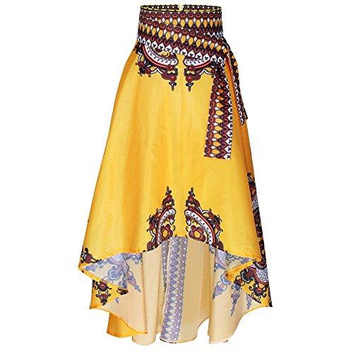 OSYARD Damen Neu Afrikanische Frauen Boho Langes Kleid Strand Abendgesellschaft Maxi Rock im Asymmetrischen Look mit Ethno-Alloverprint