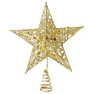 GEMVIE 3D Escudo Creux Estrella 20* 15cm en Hierro brillanté decoración árbol Navidad Puntas de árbol Christmas Tree