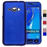 COOVY Funda para Samsung Galaxy J1 SM-J120 / SM-J120F / SM-J120F/DS (Model 2016) 360 Grados, Carcasa Ultrafina y Ligera, con Protector de Pantalla, protección de Cuerpo Completo | Color Azul