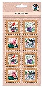 Ursus 41050001Corcho Pegatinas, Carta Marca Butterfly, 8Unidades