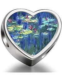 Bracelet Charm Bead Monet Water Lilies Heart Sterling Silver Charm Beads Biagi beads European Charms Bracelets