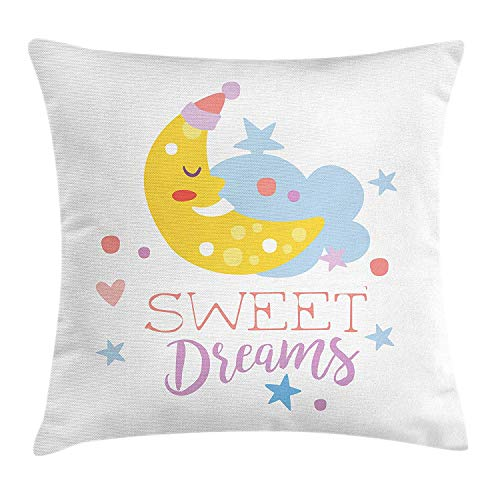 Sweet Dreams Eye Pillow (Sweet Dreams Throw Pillow Cushion Cover, Colorful Illustration with Hand Lettering Quote with Stars and Crescent Moon, Decorative Square Accent Pillow Case, 18 X 18 Inches, Multicolor)