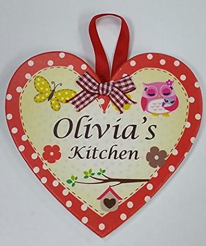 Olivia benannt personalisierbar Herz Geformte Küche Magnet Plaque von Sterling