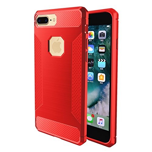 YAN Für iPhone 7 Plus Brushed Carbon Fiber Texture Shockproof TPU Schutzhülle ( Color : Red ) Red