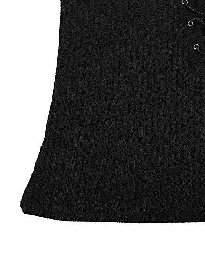 StyleDome Donna Maglione Manica Lunga Collo V Autunno Maglieria Elegante Casual Maglietta Moda Shirt Top Sciarpa Nero