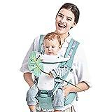 GBlife Mochila Portabebé Ergonómico Multifuncional 4 en 1 Fular Porta Bebé con Múltiples Posiciones Suave Ajustable para Niños, Verde Claro