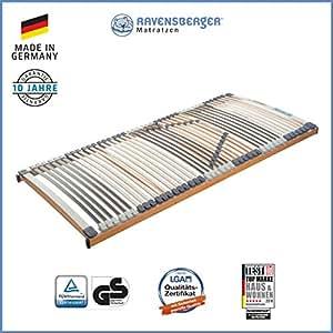 Ravensberger Matratzen Medimed Lattenrost | 7-Zonen-Buche-Lattenrahmen | 44 Leisten| starr| MADE IN GERMANY - 10 JAHRE GARANTIE | TÜV/GS 90x200 cm