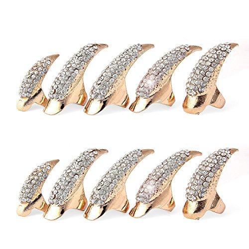 Pupow Finger Halloween Claw Stile punk di cristallo del Rhinestone pavimenta zampa Bend dita Cosplay Finger Claw Ring Set Parti falsi falsi chiodi di 10 PCS (nero) (Oro)