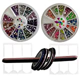 Nail Art Kit Set - 3D Rhinestones Colorful and Neon Wheels - Nail Striping Tape Strips - French Nail Tip Guides Stickers - Nail File Emery Board - DIY