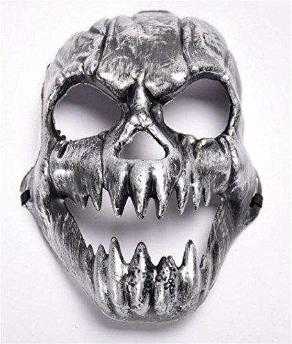 SHUNLIU Totenschädel Horrormaske Glänzende Skelett Maske in Gold & Silber Halloween Skelettmaske Totenkopf Maske Karnevalskostüme Faschingsmaske Halloween Horrormaske