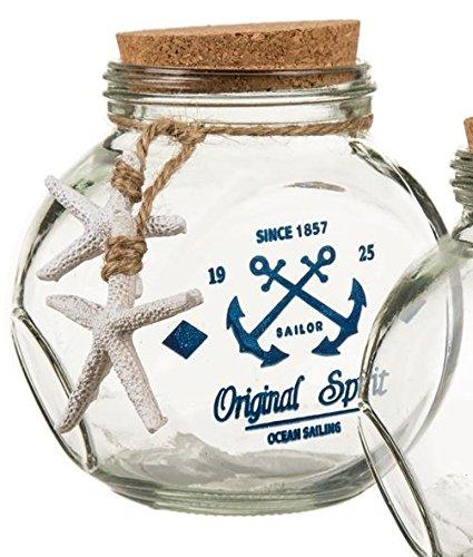 Maritime Deko Glasflasche 2 Modelle zur Auswahl, Farbe:blau Anker-gläser