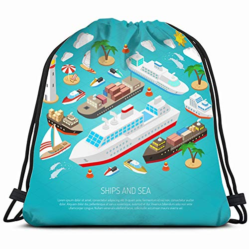 sea ships ferries cargo boats yachts objects isometric transportation Drawstring Backpack Gym Sack Lightweight Bag Water Resistant Gym Backpack for Women&Men for Sports,Travelling,Hiking,Camping,Shopp (Womens Beach Line Boat Shoe)