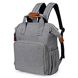 Hohope Nappy Changing Bag Diaper Backpack With Insulated Pockets Stroller Straps & Changing Mat