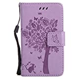 Microsoft Lumia 435 Hülle, Chreey Prägung [Katze Baum] Muster PU Leder Hülle Flip Case Wallet Cover mit Kartenschlitz Handyhülle Etui Schutztasche [Hell lila]