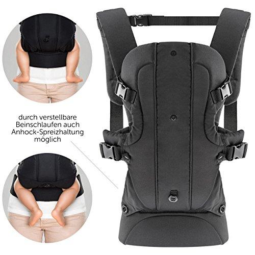Fillikid - Ergonomische Babytrage / Kindertrage 4in1 - Bauchtrage, Rückentrage, variable Blickrichtung / mitwachsend, verstellbar - für Neugeborene & Kleinkinder (3,5-15 kg)