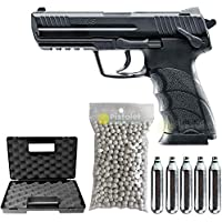 Paquete Completo con Accesorios - Pistola para Airsoft, Modelo HK45 Co2, 1 Julio, Color Negro, Semi automático