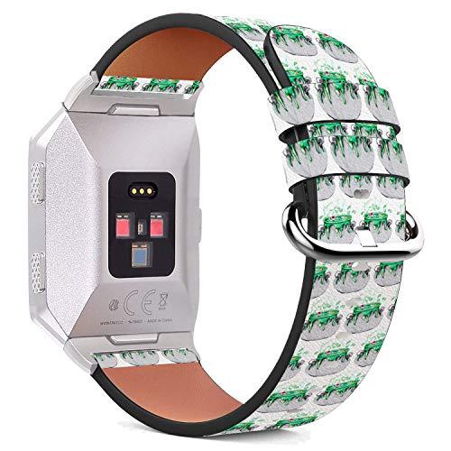 MysticBand Für Fitbit Ionic 44mm / 42mm Armbänder Uhrenarmband Ersatz Lederarmband mit integriertem Armband Adaptors - Grüne Hexe Brew Potion