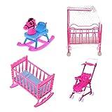 Produkt-Bild: MagiDeal 4pcs Puppenöbel Satz für Barbie Puppen - Kinderbett + Schaukelbett + Schaukelpferd + Kinderwagen - Pink + Blau