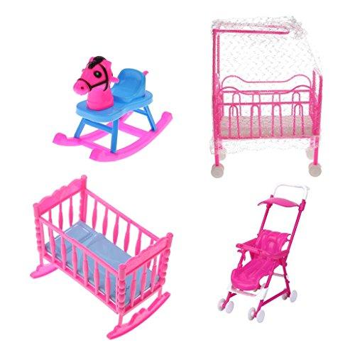 MagiDeal 4pcs Puppenöbel Satz für Barbie Puppen - Kinderbett + Schaukelbett + Schaukelpferd + Kinderwagen - Pink + Blau (Puppenhaus Kelly)