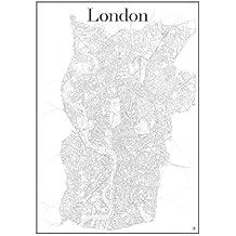 London Poster - Stadtplan Plakat Staßennetz (60 cm x 84 cm) Kunstdruck