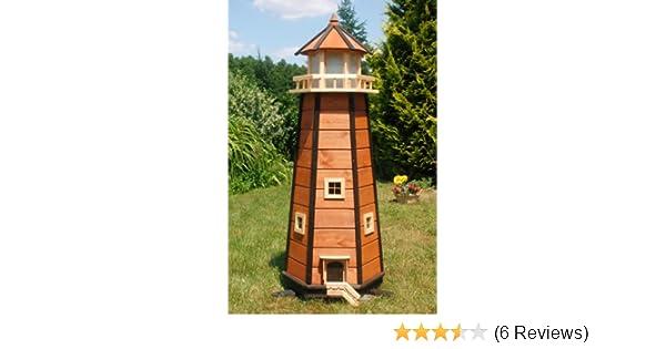 LED Gartendeko Riesiger XXL Leuchtturm mit Solar Beleuchtung 1,40m braun