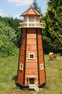 Wunderschöner großer XXL Leuchtturm aus Holz mit LED Beleuchtung 1,40 m, braun