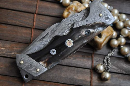Custom made All Damascus Pocket Knife Horn handle -By Koobi- For camping and Bushcraft