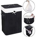 COSTWAY Wäschebox Wäschekorb Wäschetruhe Wäschesammler Wäschetonne Bambus mit Wäschesack 72L (Schwarz)