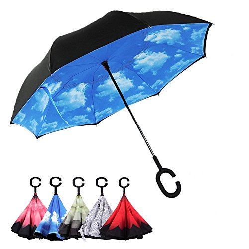 besting Double Layer Rückseite Regenschirm, seitenverkehrt gerade Auto Regenschirm zusammenfaltbar mit C geformter Griff winddicht Regen UV-Schutz Prime Tag Verkauf 2017 (Kommen Sie Und Nehmen Sie Es Handy-fall)
