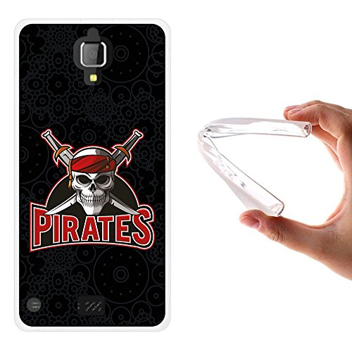 WoowCase Hisense King Kong 4G Hülle, Handyhülle Silikon für [ Hisense King Kong 4G ] Schädel- Piraten 2 Handytasche Handy Cover Case Schutzhülle Flexible TPU - Transparent