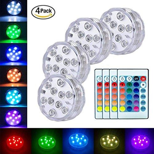 Luces Sumergibles,4PCS Piscina Luz LED Impermeable,Control Remoto Bajo El Agua Luz para Decoración Acuario,Estanque,Bodas,Fiesta Jardín Etc,Decoloración Colorida,Luces Decorativas