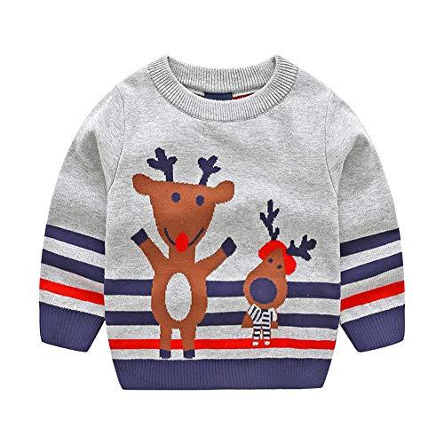 Kleinkind Baby Unisex Xmas Sweater, Vovotrade Kinder Mädchen Christmas Deer Print Gestricktes Sweatshirt Langarm Warm Pullover Pullover Weihnachten Custume