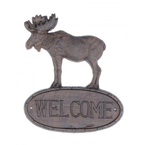 Rustikal Wildlife Dekor (Gusseisen Elch Welcome Schild Garten Dekor Neu Wandschild zum Aufhängen)