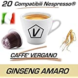 "Cápsulas compatibles con Nespresso®, Cápsulas de Caffè Vergano Mezcla ""Ginseng Amaro - Ginseng sin azúcar"" Línea Espresso - El Verdadero Caffé Italiano (20 Cápsulas)"