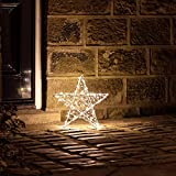 Lights4fun 200er LED 3D Stern Fensterbild Weihnachten Fensterdeko Timer Außen 35cm