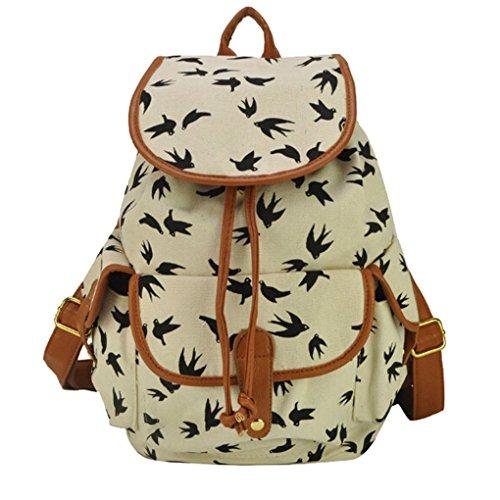 Preisvergleich Produktbild Herren Damen Fashion Vintage Casual Vintage Canvas Taschen Reisetaschen Schultaschen Rucksack Wanderrucksack-Schwalbe Muster-Schwarz