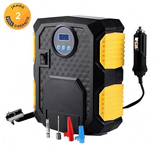 Mbuynow Luftpumpe elektrisch, 12V Mobil Luftkompressor Auto 10 Bar/150 PSI Auto Reifen Aufblasgerät mit LCD Display Digital Reifenpumpe mit Zigarettenanzünder,Manometer