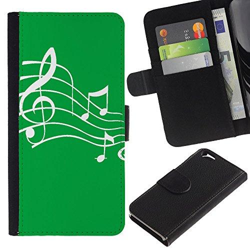 Graphic4You Musik Noten Muster Design Brieftasche Leder Hülle Case Schutzhülle für Apple iPhone 6 / 6S (Schwarz) Grün